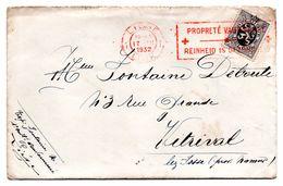 N° 288 - Oblitération Flamme Croix-Rouge PROPRETE VAUT SANTE Sur Lettre De Liège Vers Vitrival - 1929-1937 Heraldic Lion