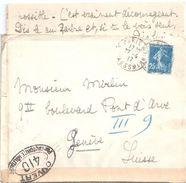 4159 PARIS 75 R La Pérouse Lettre 03 1917 Destination Suisse Avec Correspondance CONTRÔLE 410 25c Semeuse Bleu Yv 140 - Briefe U. Dokumente