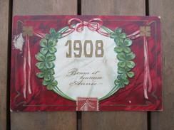 CPA FANTAISIE GAUFREE BONNE ANNEE 1908 - Nouvel An
