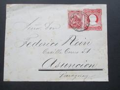 Uruguay 1903 Ganzsachenumschlag Mit Zusatzfrankatur Nach Paraguay. 4 Stempel / 4 Cancels - Uruguay