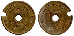 03015 GETTONE TOKEN JETON FICHA FINLAND HELSINKI GAS GASWERKE GASMUNZE 1938 - Entriegelungschips Und Medaillen