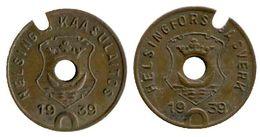 02461 GETTONE TOKEN JETON FICHA FINLAND HELSINKI GAS GASWERKE GASMUNZE 1939 - Entriegelungschips Und Medaillen