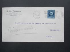 Cuba / Kuba 1919 Brief Nach Heidelberg. S.M. Timiraos Merceaderes Num. 37 Altos Habana Cuba - Briefe U. Dokumente