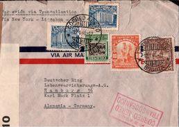 ! Old Airmail Cover 1940 Colombia, Kolumbien Bogota To Hamburg, Par Avion Flugpost, Poste Aerienne, Correo Aereo, Censor - Kolumbien