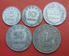 ALBANIA COMPLET SET OF COINS 1964, 5,10,20,50 QINDARKA AND 1 LEK - Albania