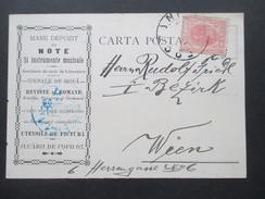 Rumänien 1906 Postkarte / Firmenkarte Nach Wien. Mare Depozit De Note Si Instrumente Muzicale. Fosani - Covers & Documents