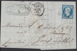 """FR - 1861 """"Boisnard-Grandmaison & Cie Granville"""" N° 14 Oblitéré Losange PC 1441 Sur Enveloppe Vers Pont-L'Abbé - TB  - - Marcophilie (Lettres)"""