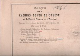 ! Carte Des Chemins De Fer De L' Ouest, Frankreich, France, Eisenbahn Netzplan, 1866 - Europe