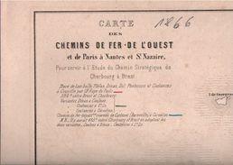 ! Carte Des Chemins De Fer De L' Ouest, Frankreich, France, Eisenbahn Netzplan, 1866, Railway - Europa