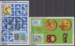 Bolivia 13.10.1980 Mi # Bl 100-01 Moscow Summer Olympics, FULL SET, MNH OG - Verano 1980: Moscu