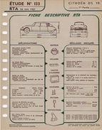 FICHE RTA 1957 CITROEN DS 19  3 Fiches - Technische Pläne