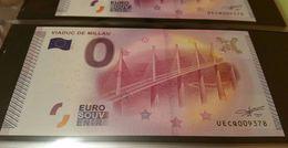 RARE Billet 0 Euro Touristique Souvenir VIADUC DE MILLAU 2015 N° 009378 Epuisé - Private Proofs / Unofficial