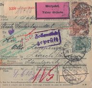 DR Wert-Paketkarte Mif Minr.85II,86II,87II,89II,10x 93II,5x 103 Frankfurt 3.2.20 Gel. In Schweiz - Germany