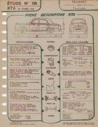 FICHE RTA 1956 1957 1960 PEUGEOT 403  3 Fiches - Planches & Plans Techniques