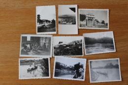 9 Photos Indochine Française  Mekong  Vers 1950 - Völker & Typen