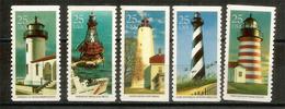 Phares Célèbres Américains: Cape Hatteras,West Quoddy Head (Maine),American Shoals (Floride),etc. 5 Timbres Neufs ** - Phares