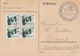 DR Karte Mef Minr.4x 584 SST Kuhlmühle über Wittstock 31.7.35 Deutschlandlager Gel. In Schweiz - Briefe U. Dokumente