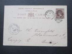 Gibraltar 1895 Ganzsache Nach Leipzig. Ankunftstempel Leipzig - Thonberg - Gibraltar