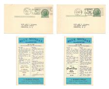 UX39 Postal Cards Blue Monday Gazette Stamp Dealer Advert Jokes 2 Diff 1952 - Postal History