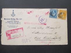 USA 1921 Ausgabe 1907 Franklin Nr. 166/169 R-Brief. Rote Stempel San Francisco-Bad Reichenhall. Return Receipt Requested - Briefe U. Dokumente