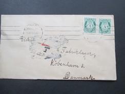 Norwegen 1915 Freimarken Posthorn Waagerechtes Paar. Mold - Kopenhagen. Strichstempel / 4 Striche / O - Norwegen