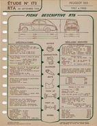 FICHE RTA 1960 PEUGEOT 203 - Planches & Plans Techniques