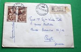 ITALIA 1952, RACCOMANDATA ITALIA AL LAVORO LIRE 40 COPPIA SU BUSTA  VIAGGIATA - Storia Postale