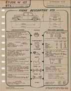 FICHE RTA 1956 CITROEN TRACTION 11D - Planches & Plans Techniques