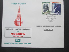 Sowjetunion First Flight Karachi - London - Karachi Via Moscow May 10, 1964. Pakistan International Airlines PIA - Pakistan