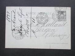Frankreich Ganzsache 1894 Paris 103 R. Des Fills Du Calvaire Nach Bergen Norwegen. Bergen TUR - 1876-1898 Sage (Type II)