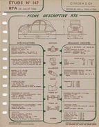 FICHE RTA 1958 CITROEN 2CV - Planches & Plans Techniques