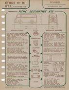 FICHE RTA 1958 PEUGEOT FOURGON D4A - Planches & Plans Techniques
