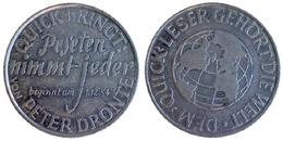 03262 GETTONE TOKEN JETON FICHA GERMANY ADVERTISING VENDING  BEVERAGE ALTE PETER DRONTE 1954 ALU - Unclassified