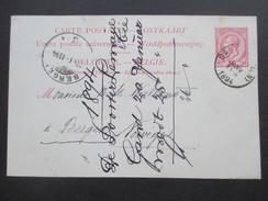 Belgien Ganzsache 1894 Nach Bergen Mit Ankunftstempel. - 1893-1900 Schmaler Bart