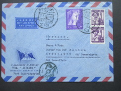 Ägypten 1950er Jahre Luftpostbrief / Schiffspost Hamburg - Amerika Linie. TS Ariadne. Nach Üterlande.Interessanter Beleg - Covers & Documents