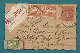 -= Carte-lettre Adressée En Recommandé De PARIS Pour EPINAY (Seine) -1935 =- - 1921-1960: Période Moderne