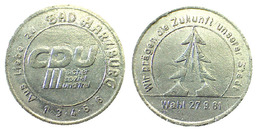 00354 GETTONE TOKEN JETON ADVERTISING POLITIC PARTY CDU DAB HARZBURG 1981 - Allemagne
