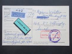 Schweden 1972 Flugpost / Par Avion Lösen 400 Öre. USA Parcel Post Customs Declaration - Briefe U. Dokumente