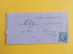 EMPIRE DENTELE 22 SUR LETTRE DE LES THILLIERS EN VEXIN A TOURNY DU 8 DECEMBRE 1866 (GROS CHIFFRE 3937) - 1849-1876: Période Classique