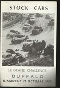PROGRAMME  STOCK  CARS  LE GRAND CHALLENGE  BUFFALO  OCTOBRE 1953 - Publicités