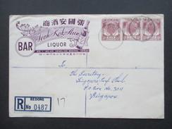 Malaysia 1955 R-Brief Bedong No 0487. 6 Stempel / Six Cancels. Firmenbrief Jeoh Kok Aun Liquor Bar. Alkohol. - Malayan Postal Union
