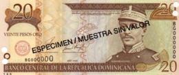 DOMINICAN REP. 20 Pesos 2001 Especimen/ Muestra Sin Valor Unc - Repubblica Dominicana