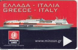 GREECE - Minoan Lines, Cabin Keycard, Used - Hotelkarten