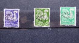 France 1960 Precancel Pre-oblitere - Full Gum - Rooster Coq Gaulois - 3 Val. - Precancels