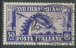 1936 REGNO USATO FIERA DI MILANO 50 CENT - S396-7 - Gebraucht