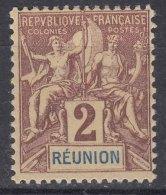 Reunion 1892 Yvert#33 Mint Hinged - Unused Stamps