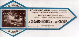 """Marque-page Avec Publicités """"Le Grand Hôtel Et Du Golf"""" à Font-Romeu /""""hôtel De Superbagnères"""" / Auto-cars ... - Marque-Pages"""