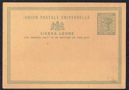 SIERRA LEONE   1881  1½d. VictoriaPostcard  Unused - Sierra Leone (...-1960)
