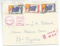 CONSEIL DE L'EUROPE DRAPEAUX 25C+30C+60C PARIS 52 18.1.1965 + ETIQUETTE EMA 0.15 - 1961-....