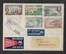 S.Rhodesia, Central African Rhodes Centenary Exhibition Label On  FDC, SALISBURY 15 APR 1953 C.d.s. , Registered - Rhodésie Du Sud (...-1964)